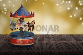 music box christmas carousel horses vintege nostalgia