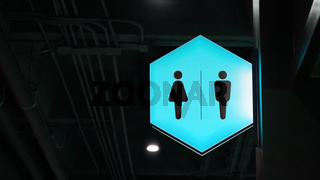 Hexagon lightbox restroom signage hang on wall