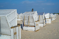 Beach chairs on the beach of Swinoujscie on the Baltic Sea in Poland