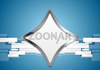 Blue hi-tech background with metal shape