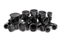 Different versions of cast iron sewer fittings and connections