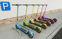 Multicolored electric scooters standing on the sidewalk. 3D illustration