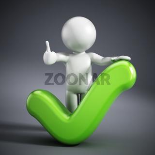 3D figure holding a tick sign