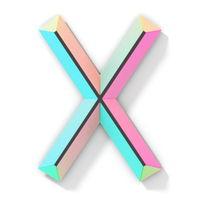 Neon color bright font Letter X 3D