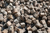 pile of cobble stones - pavement stone closeup -