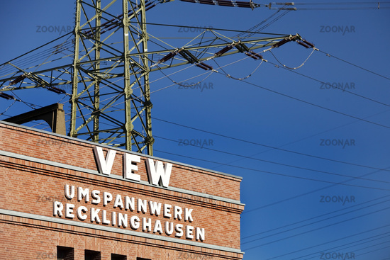 Substation Recklingkausen, route industrial culture, Recklinghausen, Ruhr area, Germany, Europe