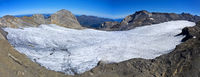 Plaine Morte Glacier beneath the peaks  Gletscherhore, left, and Wildstrubel, right, Bernese Alps,