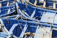 Blue fishing boats in the port of Essaouira, Morocco, Africa.