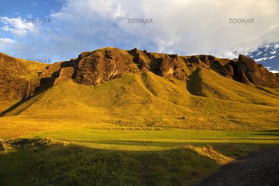 Mountains of tufa at sunrise, Kirkjubæjarklaustur, Iceland, Europe