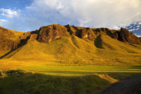 Mountains of tufa at sunrise, Kirkjubæjarklaustur, Iceland, Europe