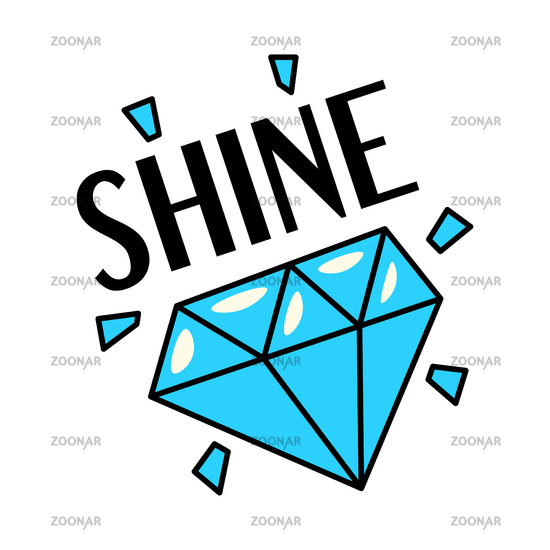 Shining blue diamond gemstone retro style sticker patch badge with text, flat style vector illustration isolated on white background.