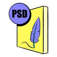 PSD file icon in icon cartoon