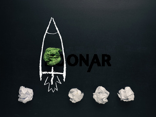 Launching rocket , creativity concept or new ideas metaphor
