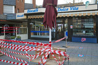 "Germany, North Rhine-Westphalia, Witten, closed ice cream parlor ""Dolce Vita"", corona crisis, 2020"