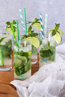 Refreshing infused water with cucumber, mint and lime. Summer drink cocktail lemonade. Healthy drink