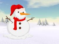 Christmas snowman - 3D render