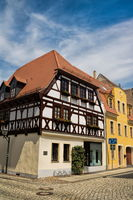 Delitzsch, Germany - June 19, 2019 - historic half-timbered house in the old town