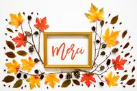 Colorful Autumn Leaf Decoration, Golden Frame, Text Merci Means Thank You