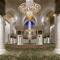 Magnificent interior of Sheikh Zayed Grand Mosque, Abu Dhabi, UAE