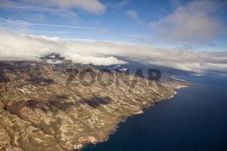 Luftaufnahme der Kueste bei Fasnia, Teneriffa