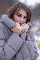 sad winter woman