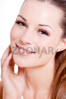 natural beautiful woman face closeup portrait