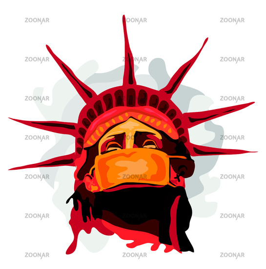 Illustration showing Statue of Liberty wearing a mask in times of pandemic
