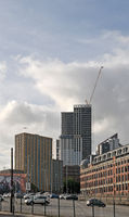 a cityscape view of north street and the apartment developments around the arena