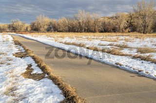 winter scenery on a bike trail in Colorado