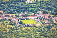 Village of Tribalj in Vinodol valley aerial view