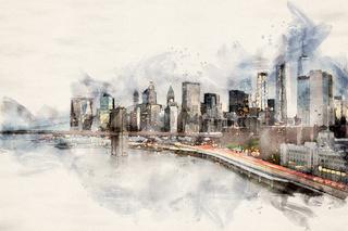 Watercolor Manhattan Skyline