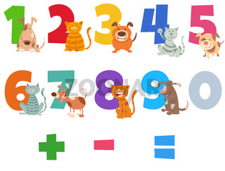numbers set with happy cats and dogs