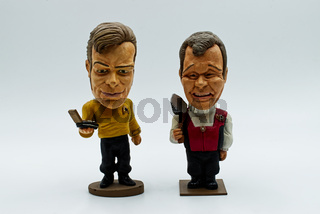 Captain Kirk, young and old, hand painted bobble head from Star Trek.