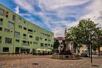 Schönebeck, Germany - June 20, 2020 - historic market fountain and new buildings