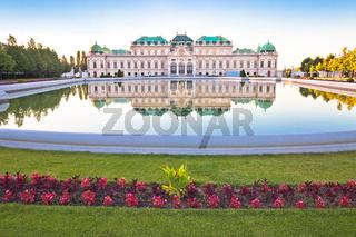Belvedere park in Vienna water reflection view