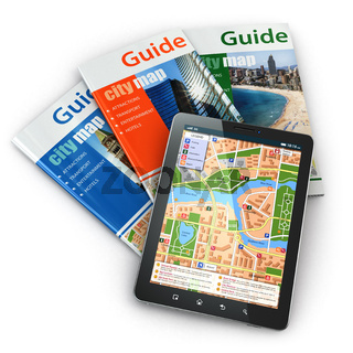 GPS tablet pc navigation  and travel guide books.