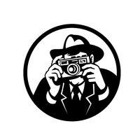 Photographer Wearing Fedora Shooting Camera Retro Black and White