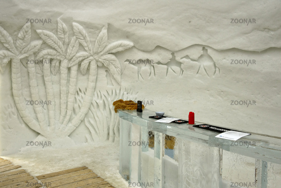 Reception made of ice and ice sculpture at the ice hotel, Gstaad Igloo Village,
