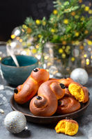Traditional saffron buns. Swedish Christmas.