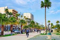 Modern cityscape, promenade, Larnaca, Cyprus