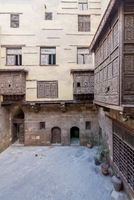 Patio of ottoman historic house of Zeinab Khatoun with wooden oriel windows