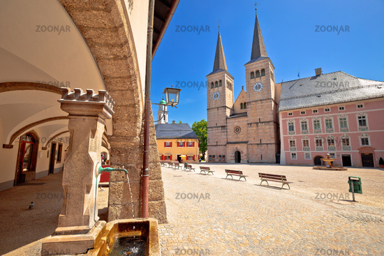 Berchtesgaden town square and historic architecture view