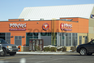 Calgary Alberta, Canada. Oct 17, 2020. Popeyes is an American multinational chain of fried chicken fast food restaurants from New Orleans, Louisiana and headquartered in Miami, Florida.