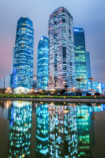modern architecture and reflection at night