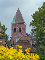 Exterior view of a brick church in city Woehrden, Schleswig-Holstein, Germany, Europe