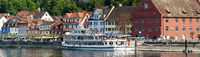 town of Meersburg from the lakeside with an excursion ship