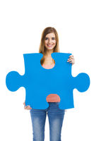 Woman holding a puzzle
