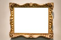horizontal baroque picture frame on wall