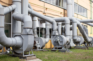 Ventilation pipes in the plant shop. Ventilation system