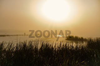 View of the Foggy Dnieper River at morning